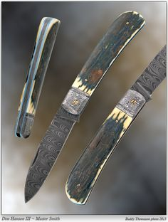 """Don Hanson III, MS- """"Zulu"""" Modified Wharncliff Slip-joint. Deep pressed ladder pattern damascus blade and backspring (around 200 layers). Bolsters are deeply etched 'W' pattern damascus. Premium blue Mammoth bark ivory handle scales. Blue anodized titanium liners. OAL 7 1/4"""". Blade is 3 1/4"""". Tony Bose inspired piece."""