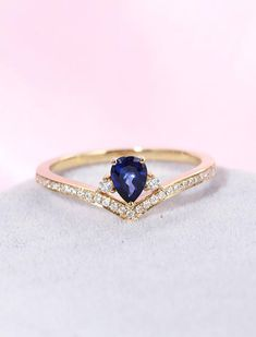 Sapphire engagement ring Pear shaped engagement ring women