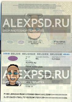Belgium passport - ALEXPSD Passport Template, Psd Templates, Photoshop, Names, Belgium