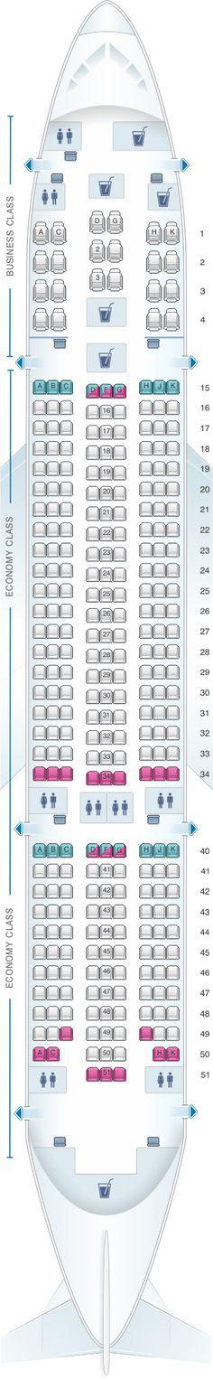 Mapa de asientos de Air Europa Boeing B787-8. Plano del avión detallado con información adicional sobre el espacio para las piernas, grado de reclinación y las amenidades.