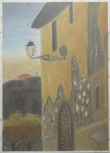 House in sunset, pastel cm Painting Gallery, Pastel Drawing, Still Life, Artworks, Pastel Paintings, Sunset, Landscape, Drawings, House