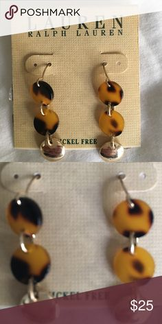 Earrings Never worn Ralph Lauren earrings. Black and brown with gold Lauren Ralph Lauren Jewelry Earrings