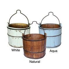 Antique Iron-handle Water Bucket | Overstock.com Shopping - Great Deals on Baskets & Bowls