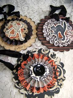 Instant Collection Handmade Halloween Ornaments Vintage Halloween Decoration Vintage Inspired Halloween Ornaments Black Orange Altered Art - Real Time - Diet, Exercise, Fitness, Finance You for Healthy articles ideas Halloween Paper Crafts, Vintage Halloween Decorations, Halloween Ornaments, Halloween Trees, Halloween Signs, Halloween Projects, Halloween Cards, Holidays Halloween, Samhain Halloween