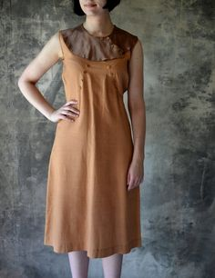 1930's Dustbowl Sienna Brown Work Dress by Petrune on Etsy, $85.00