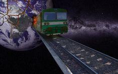 #railway #train #earth #explosion #galaxy #space #photoshop Galaxy Space, Photoshop, Earth, Train, Trains, Mother Goddess