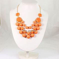 New Bubble Necklace Orange Color Necklace  wedding by EllenJewelry, $13.40