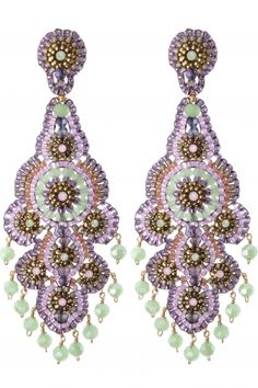 Miguel Ases Ohrschmuck Gold Filled Prehnit Miyuki Perlen Swarovski Steine lila grün violett rosa