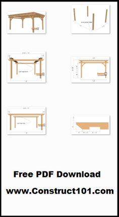 DIY 12×16 pergola, plans includes free PDF download, drawings, measurements, shopping list, and cutting list.