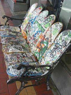 Skateboards into a bench