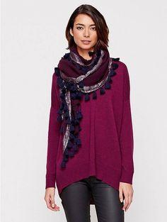 NWT Eileen Fisher Raisonette  Wrap in Tassled Shimmer Wool Scarf