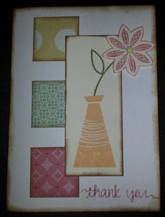 I needed to make up some quick thank you cards. I had this idea in my head for awhile after seeing a sketch like this on pintrest. I used some scrap patterned paper for the small squares. The flowe…