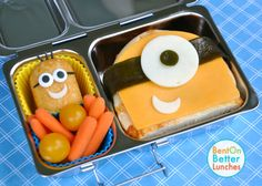 Despicable Me's Minions! from 'Bent on Better Lunches'...For more creative ideas for school lunches visit https://www.facebook.com/SchoolLunchIdeas