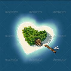 Detailed illustration of a Heart Shaped Tropical Island for romantic vacation or valentines. This illustration is saved in EPS10 with color space in RGB. Where possible, the objects have been grouped to make it easily editable or hidden.100 vectorial image 100 Editable & Re-sizable vectors! High quality print resolution text can be deleted or sub