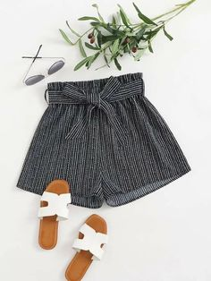 ((Affiliate Link)) Description Style:	Casual Color:	Black Pattern Type:	Striped Details:	Belted, Paper Bag Waist Type:	Wide Leg Season:	Summer Composition:	100% Polyester Material:	Polyester Fabric:	Non-stretch Sheer:	No Fit Type:	Loose Waist Type:	Mid Waist Closure Type:	Elastic Waist Belt:	Yes