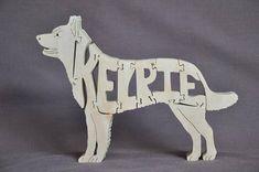 Kelpie australiano pastoreo perro rompecabezas juguetes de madera mano cortada con Sierra de marquetería