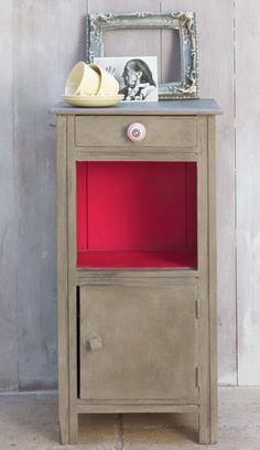 Annie Sloan Chalk Paint: A French side table painted in Coco with clear and dark wax to give variation, with Emperors Silk in the interior and drawer. A striped red and white ceramic knob graces the drawer.#Repin By:Pinterest++ for iPad#