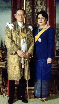 His Majesty King Bhumibol Adulyadej and Mom Rajawongse Sirikit Kitayakara were married by Her Majesty Queen Sawang Vadhana, the paternal grandmother of His Majesty, at the Sra Pathum Palace in Bangkok on April 28, 1950.  This year they are celebrating their 63rd wedding anniversary.