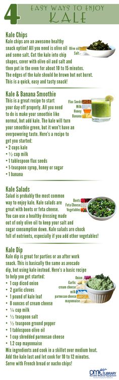 Kale can be made in numerous differnt ways it never becomes stagnant! Kale is among the most healthy vegetable you can eat so experiment with these different ways to enjoy kale!