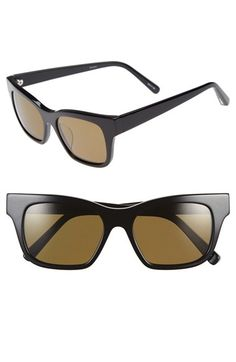 Women's Elizabeth and James 'Stockton' 52mm Polarized Sunglasses - Shiny Black/ Olive Polar Lens