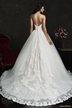 filipina strapless ball gown wedding dress lace bodice hem skirt back view train