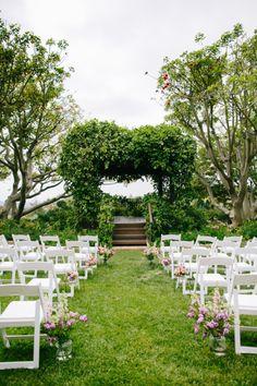 Garden ceremony to the extreme: http://www.stylemepretty.com/2014/09/18/charming-santa-barbara-estate-wedding/ | Photography: Mirelle Carmichael - http://www.mirellecarmichael.com/