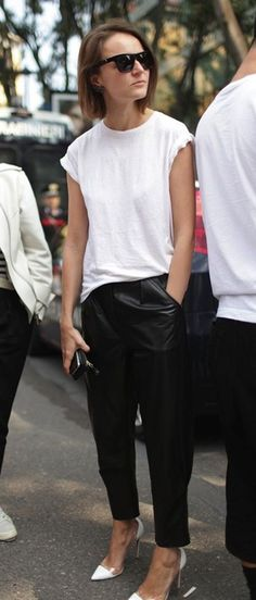 Black and white is a tried and true classic, any time of year. And leather simply steps up your game. Look New York sleek in leather trousers, with a crisp, white tee, and throw on a pair of shades for extra points! Get the look by finding your inspiration from Rag & Bone today.