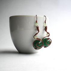 Wirewrapped jade earrings green copper