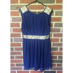 """Navy with gold sequin dress Beautiful navy dress with gold sequin accents! Deep V in back with zipper. 33.5"""" long. Equivalent to a women's size 12. Dresses"""