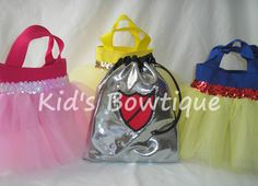 Set of 12 Knight in Shining Armor Drawstring Birthday Bags and 12 Princess Party Favor Tutu  Bags
