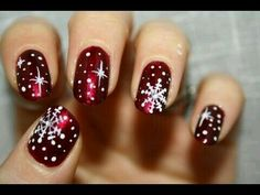 Snowflakes on deep red