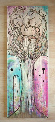 Candy death dawn, 30 cm x 80 cm, Woodburning/Acryllic on wood