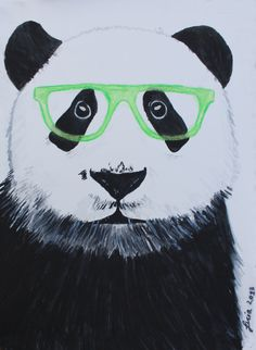 Illustration Art Print of Panda 22.05 x 32.05 Original Watercolor Painting painting by Lucia,watercolor animal . via Etsy 12.00€