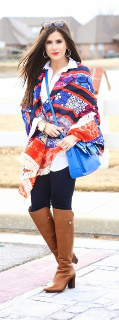 Cape Shawl / Scarf with Leather over the Knee Boots by The Sweetest Thing