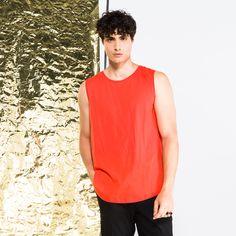 now on eboutic.ch - orange tank top for men Orange Tank Top, Famous Brands, Cosmopolitan, Sexy Outfits, Tank Man, Feminine, Glamour, Tank Tops, Elegant