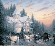 Thomas Kinkade Victorian Christmas painting is available for sale; this Thomas Kinkade Victorian Christmas art Painting is at a discount of off. Thomas Kinkade Art, Thomas Kinkade Christmas, Christmas Scenes, Christmas Pictures, Victorian Christmas, Vintage Christmas, White Christmas, Merry Christmas, Christmas Time