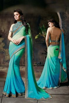 Aqua Fancy Fabric Party Wear Saree 61372