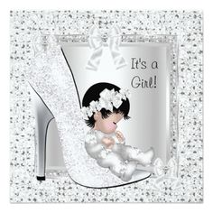 Baby Shower Girl Silver White Glitter Shoe Custom Invites. Buy glitter baby shower cards to add some glitter and sparkle to your event! This pretty and sweet looking design looks just like glitter, but, without the mess.