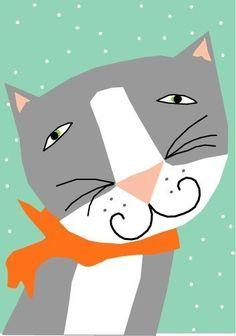 Grey cat smiles