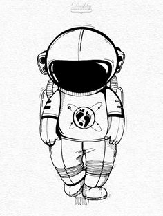 sticker design by - astronaut sketch Astronaut Tattoo, Astronaut Drawing, Astronaut Illustration, Space Illustration, Astronaut Helmet, Space Drawings, Art Drawings, Tattoos 3d, Sketch Style