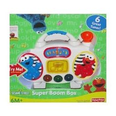 $21.99 Fisher Price Elmos Super Boom Box. From the ManufacturerElmos Super Boom Box plays 6 fun tunes and has flashing lights. Press any of the 3 buttons to hear character voices and 12 classic tunes while the musical note flashes to the beat of the music.Product DescriptionElmos Super Boom Box plays 6 fun tunes and has flashing lights. Press any of the 3 buttons to hear character voices and 6 classic tunes while the musical note flashes to the beat of the music. Plays 6 fun tunes Press butt