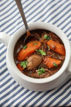 "Slow Cooker Beef Chuck Stew _ This is THE beef stew. It's savory, hearty, filling, rich-but-not-too-heavy, & the flavor has just a hint of complexity. It's the crowning jewel of my stew creations to date. The only thing missing is ""a prospector bowl"" (a pewter bowl to eat it out of)!"