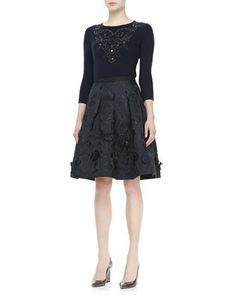 3/4-Sleeve Embroidered Cashmere Knit Top & Flared Skirt by Oscar de la Renta at Neiman Marcus.