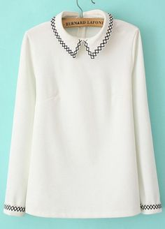 White Lapel Long Sleeve Embroidered Slim Blouse pictures
