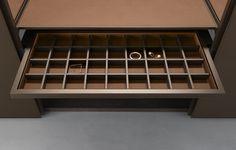 Organizer tray in castoro regenerated leather finishing. Men Closet, Wardrobe Closet, Built In Wardrobe, Walk In Closet, Wardrobe Storage, Wardrobe Dresser, Dressing Room Closet, Dressing Rooms, Joinery Details