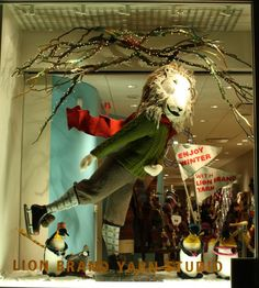 Lion Brand winter window display