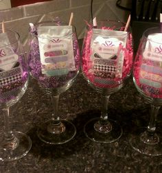 Here's a fun idea for a Wine and Jam Party. These wine glasses from the Dollar Store along with some Jamberry Swag make for a great prize! :)