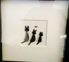 Pebble art, three kitty's . Make a nice gift for cat lover