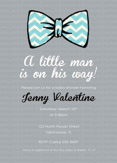baby boy shower invitation with bow tie digital by katiedidesigns