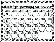 Apples, Apples, Apples Students can stamp missing letters. Kindergarten Freebies, Kindergarten Language Arts, Homeschool Kindergarten, Preschool Math, Kindergarten Reading, Kindergarten Apples, Apple Activities, Alphabet Activities, Literacy Activities
